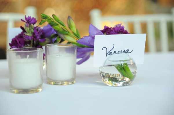 Vanessa Minnillo's escort card in small vase