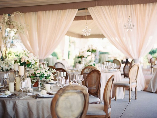 Romantic wedding decor at Westin Hilton Head Island's oceanfront pavilion