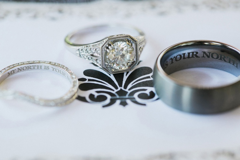 william's jewelry, vintage inspired engagement ring, engraved wedding bands
