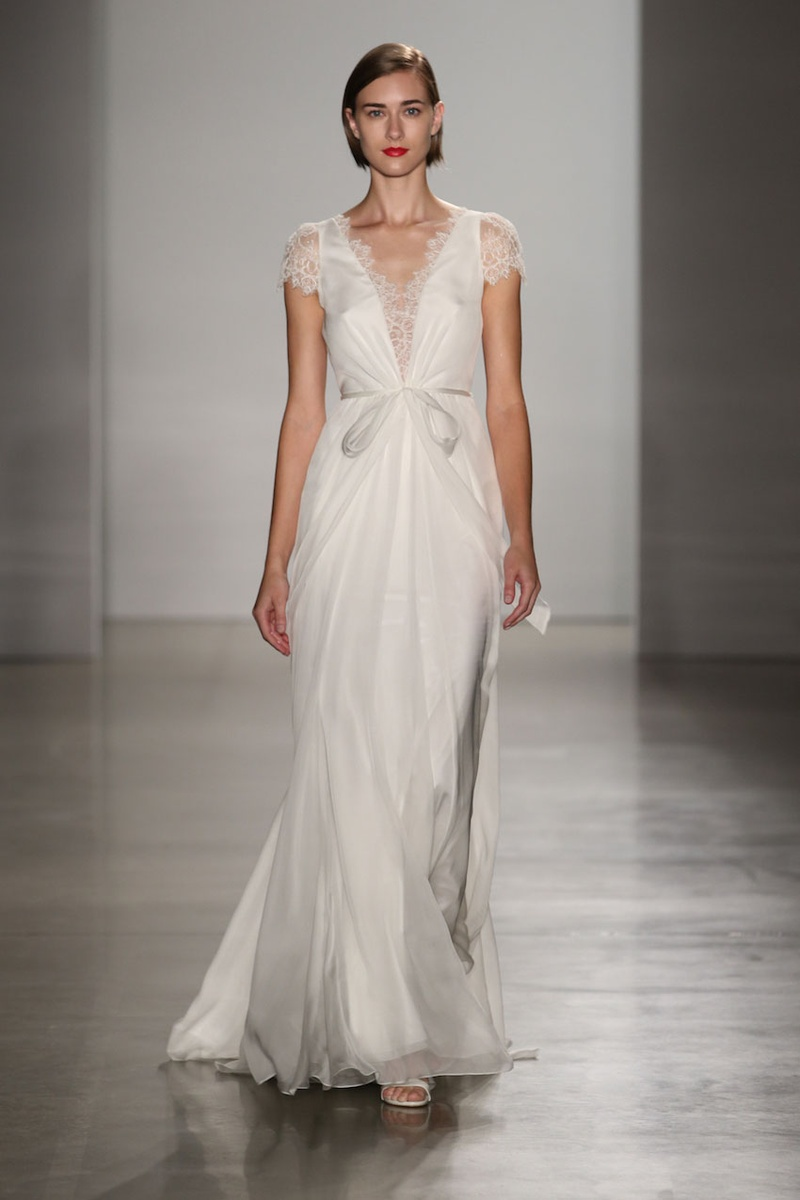 Wedding dresses photos lainee by christos fall 2016 inside christos fall 2016 silk chiffon wedding dress with lace cap sleeves and bow at waist ombrellifo Image collections