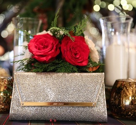 Jimmy Choo shimmering wedding bag clutch with silver fabric and gold hardware