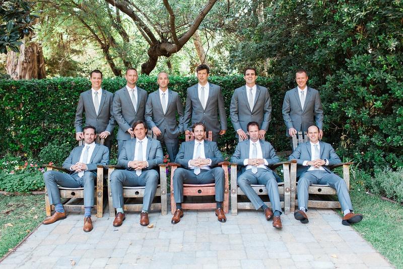 groom groomsmen gray grey blue suits rustic chic wedding california modern style