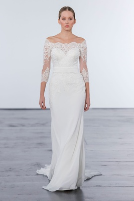 Dennis Basso for Kleinfeld 2018 collection wedding dress off shoulder lace gown three quarter sleeve