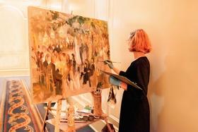 Live event painter Laura Swytak at Houston wedding