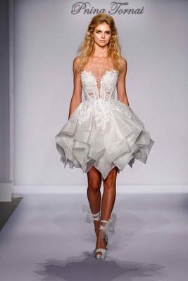 Pnina Tornai for Kleinfeld 2016 short strapless wedding dress with layered skirt