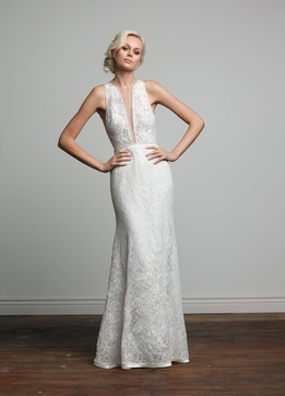 Joy Collection Barbara Kavchok Iris wedding dress lace v neckline sheath gown