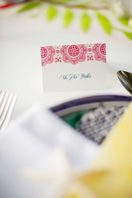 red patterned place cards blue calligraphy punta mita mexico shoot wedding paper good escort card
