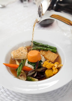 Sweet Potato Timbale with Spring Vegetables in a Miso Flavored Broth