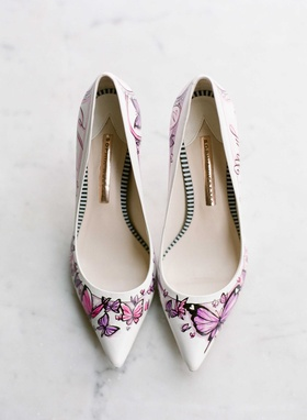 Figgie Couture handpainted wedding heels with pink and purple butterflies