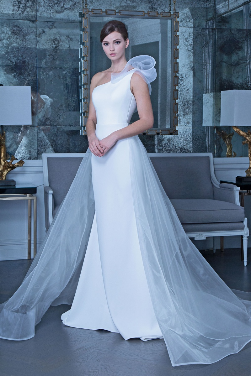 Romona Keveža fall 2019 bridal collection wedding dress RK9504 One-shoulder gown overskirt
