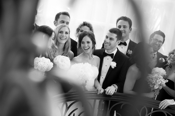 Black and white photo of bridal party wedding party bridesmaids groomsmen at beverly hills wedding