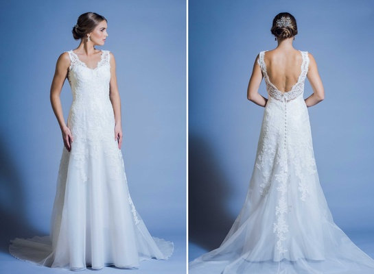 Jinza Couture Bridal 2016 low back wedding dress with lace straps can be customized to have a-line