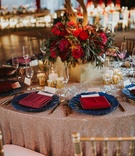 rose gold sequin linen, navy charger plate, burgundy napkins