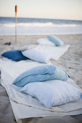Oceanfront pillow and blanket