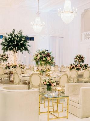 wedding reception mariana paola vicente kike hernandez ivory tufted velvet barrel chair gold table