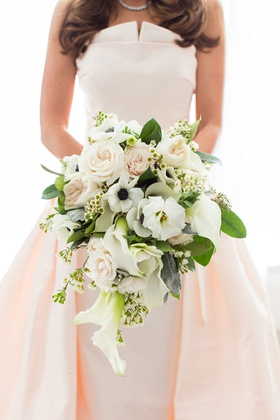 bridal bouquet with roses, anemone, calla lily