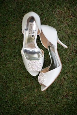 Bride Badgley Mischka peep-toe pumps with rhinestones