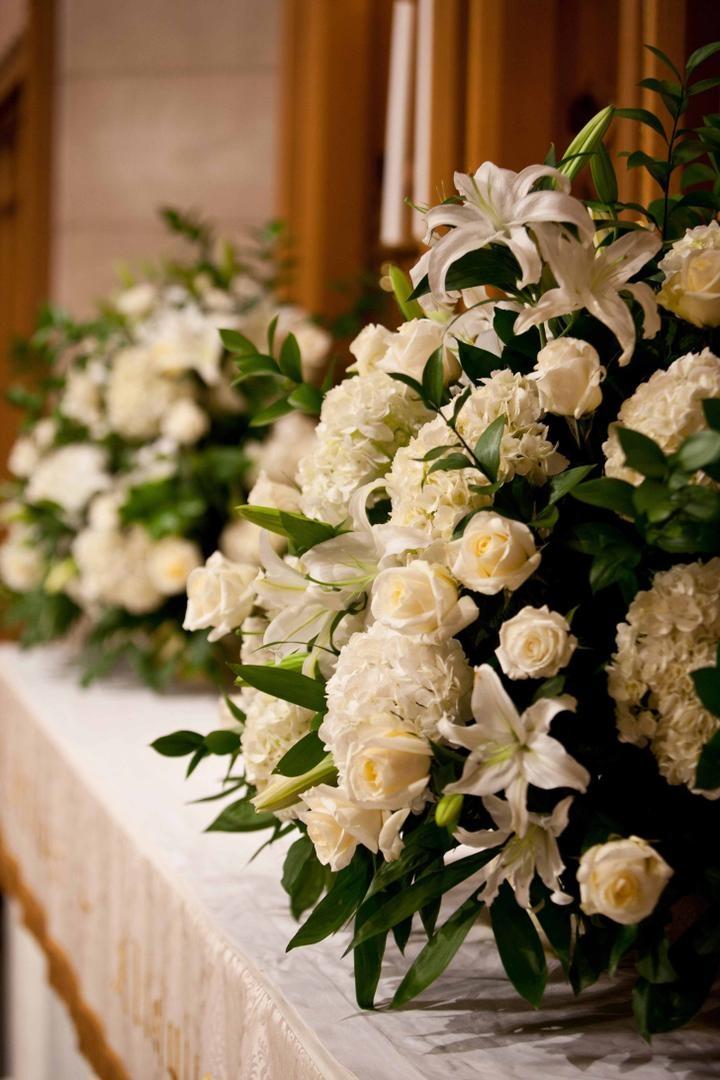 Church wedding floral display decorations