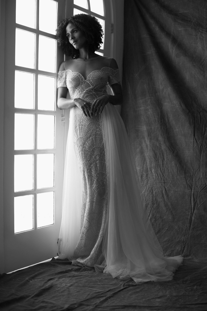 Francesca Miranda fall 2019 bridal collection wedding dress Giulia fit-and-flare embroidered