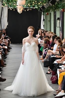 78a3d47504b Nouvelle Amsale spring 2019 bridal collection wedding dress Nicolette off  the shoulder a line gown.