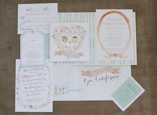 Spring wedding water color painting invites