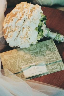 Bride's wedding bouquet and floral motif invitation