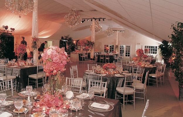 Empire Polo Club pavilion with chandeliers