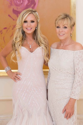 Tamra Barney's mother of bride three quarter sleeve Ralph Lauren dress