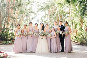 non traditional wedding party bridesmaids flower girl bridesman lavender dresses and bouquets