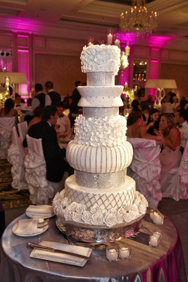 White and silver multi-layer wedding cake