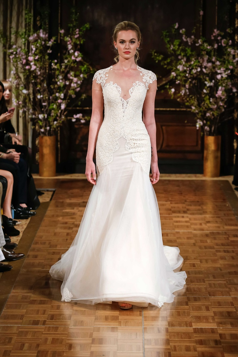 7aac739664 Isabelle Armstrong Spring 2017 Toni wedding dress fit and flare with cap  sleeves lace applique.