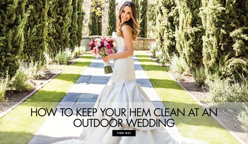 how to keep the hem of your wedding dress clean during outdoor wedding portraits