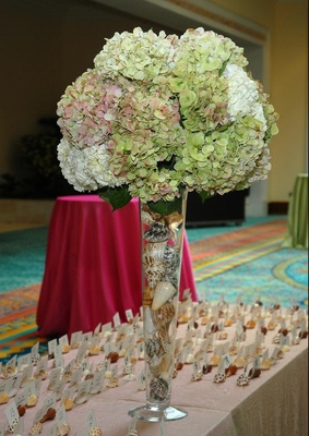 Tall hydrangea centerpiece filled with seashells