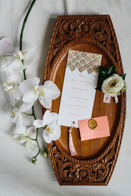 wedding menu and place card moroccan inspired styled shoot pink place card gold wax seal gold foil