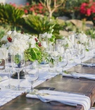 Wood reception table with white runner and natural centerpieces