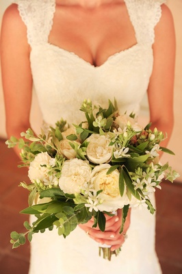 Jenna Reeves wedding bouquet for Tim Lopez ceremony garden rose bay leaves white green