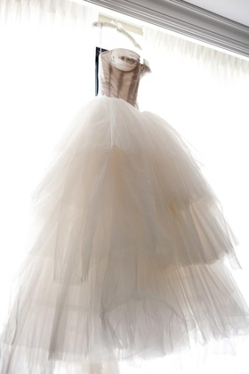 Corset style wedding dress with full tulle skirt