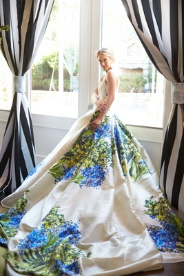 This stunning Romona Keveza hand painted wedding gown stuns at the Southern Charm inspired creative