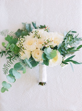 Wedding bouquet greenery leaves eucalyptus white garden roses and other flowers