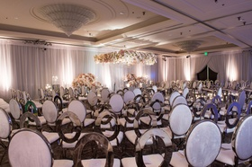 Wedding ceremony pink grey silver ivory flowers oval chairs mismatched design unique contemporary