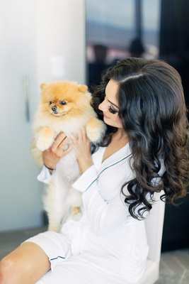 brooke squires curled hair robe with instagram famous pomeranian dog cupcake the pom getting ready
