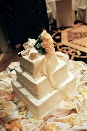 White three layer wedding cake design