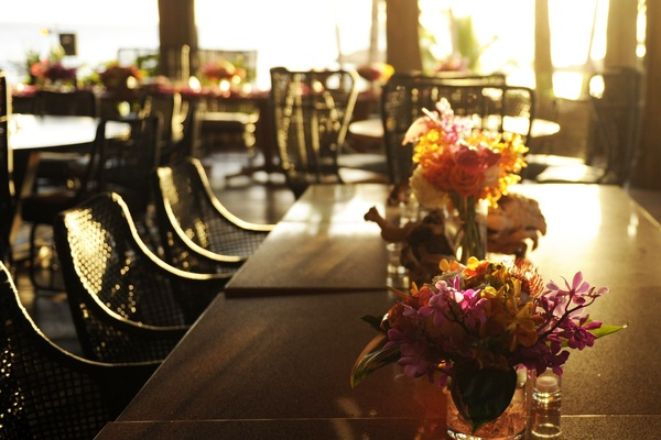 Sunlight shines on wedding reception centerpieces
