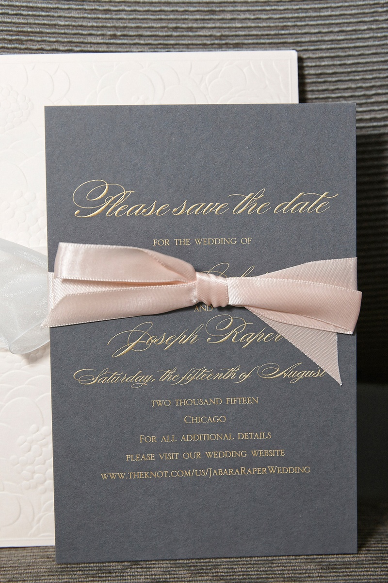 grey save the date with gold script print and blush ribbon