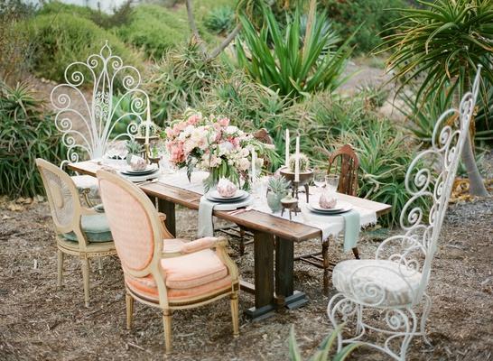 desert botanic garden wedding inspiration, boho-chic desert wedding, mismatched chairs