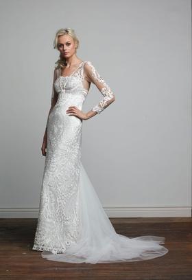 Joy Collection Barbara Kavchok Carmen wedding dress lace v neckline sheath gown