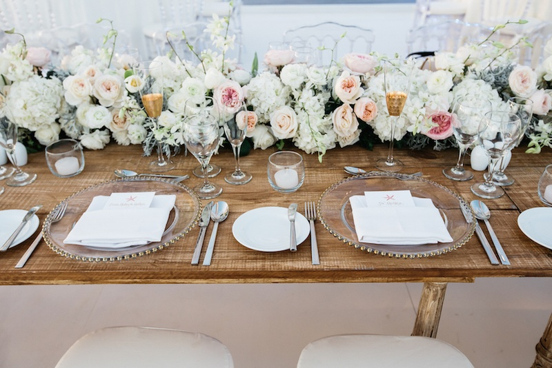 Beach Wedding Reception With A Wood Head Table, Runner Of Pink, Peach, White