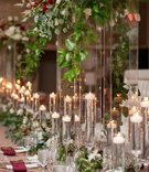 wedding reception tall centerpiece greenery burgundy flower napkin candles floating fall wedding