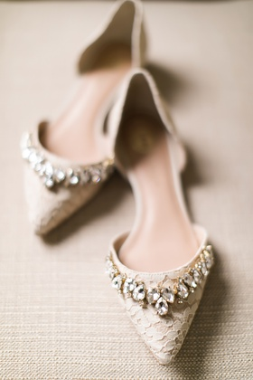 lace bridal flats with pointed toe and large crystal details
