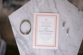 simple modern invitation with border of pink